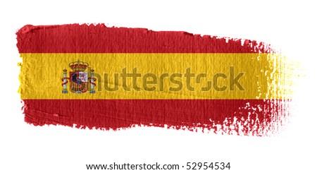 Brushstroke Flag Spain - stock photo