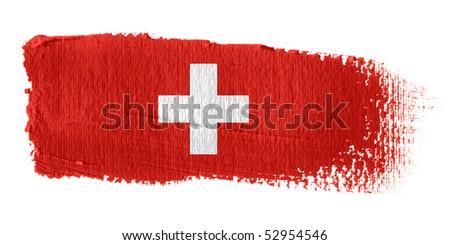 Brushstroke Flag Switzerland - stock photo
