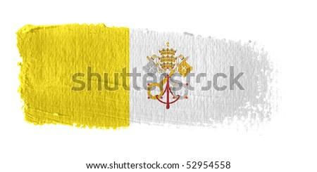 Brushstroke Flag Vatican City - stock photo