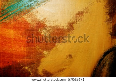 brushstrokes of different colors on a canvas - stock photo