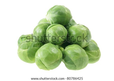 Brussel Sprout on White Background - stock photo