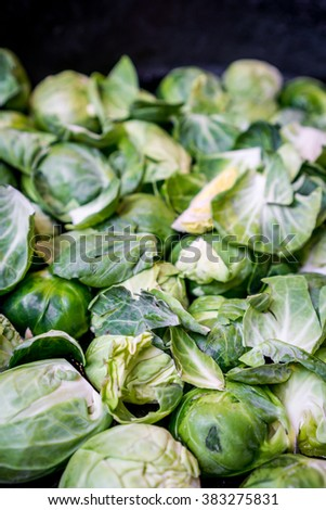 brussel sprouts being cooked in a pan - stock photo