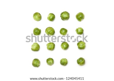 Brussel sprouts isolated on a white studio background. - stock photo