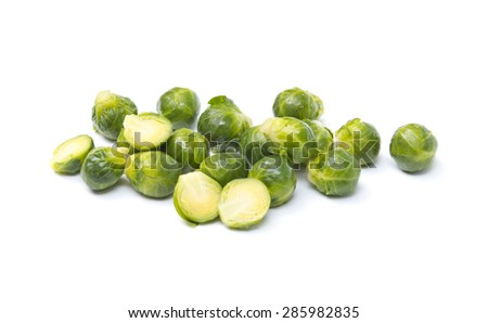 Brussel Sprouts isolated on white background - stock photo