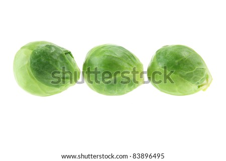 Brussel Sprouts on White Background - stock photo
