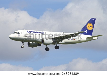 BRUSSELS - APRIL 2: Airbus A319-300 of Lufthansa approaching Brussels Airport in Brussels, BELGIUM on APRIL 2, 2015. Lufthansa is a German airline and also the largest airline in Europe.  - stock photo