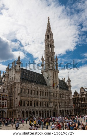 BRUSSELS - AUGUST 03: Grand Place in Brussels on August 03, 2012. The Grand Place is the central square of Brussels and the most important tourist destination and most memorable landmark in Brussels.