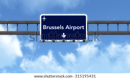 Brussels Belgium Airport Highway Road Sign 3D Illustration