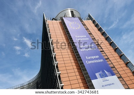 BRUSSELS, BELGIUM-APRIL 27, 2015: Berlaymont building - modern office of European Commission in European Quarter of Brussels. - stock photo