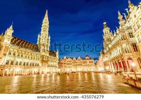 BRUSSELS, BELGIUM - APRIL 13, 2016: Grand Palace or Grote Markt is the central square of Brussels. It is surrounded by guildhalls and two larger edifices, the city's Town Hall, and the Breadhouse. - stock photo