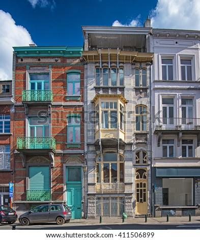 BRUSSELS, BELGIUM - 23 APRIL, 2016: Nice art nouveau houses in Brussels, Belgium on 23 April, 2016. - stock photo