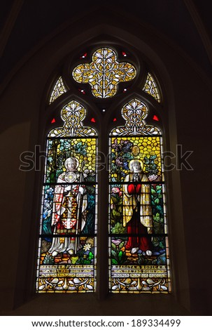 BRUSSELS, BELGIUM-APRIL 26, 2014: Stained glass window in neogothic Saint Barbara Church constructed in 1869.