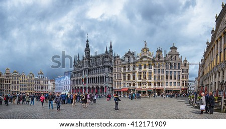 BRUSSELS, BELGIUM - 24 APRIL, 2016: The famous Grand Place in Brussels, Belgium on 24 April, 2016. - stock photo