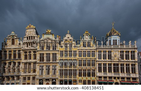 BRUSSELS, BELGIUM - 16 APRIL, 2016: Typical houses in Brussels, Belgium at the Grand Place. - stock photo