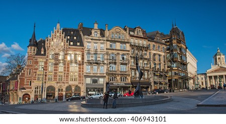BRUSSELS, BELGIUM - 12 APRIL, 2016: Typical houses in Brussels, Belgium close the Grand Place.