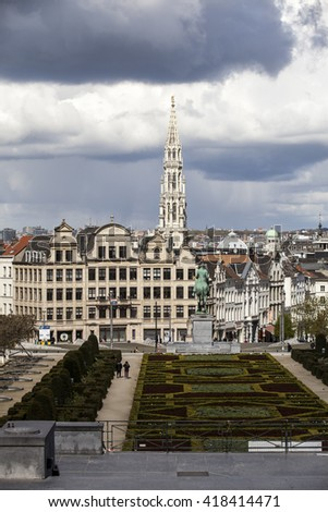 Brussels, Belgium - April, 17 2016: View from Monts des Arts with view on the tower of cityhall. Brussels is the capital of Belgium and the de facto capital of the European Union. - stock photo