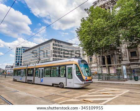 BRUSSELS, BELGIUM - AUG 16: A tram of Brussels tramway network in Brussels, Belgium on August 16, 2013. Brussels is the capital of Belgium. - stock photo