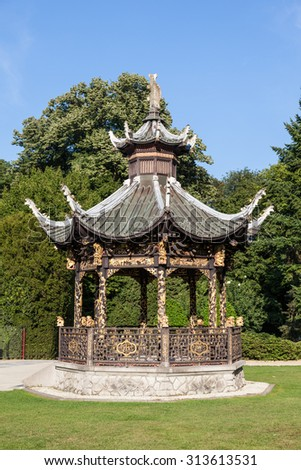 BRUSSELS, BELGIUM - AUG 22: Chinese pavilion at the Museum of the Far East in Brussels. August 22, 2015 in Brussels, Belgium - stock photo