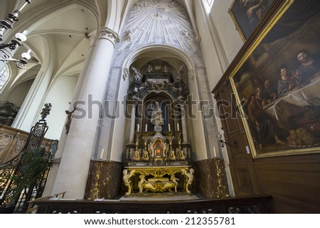 BRUSSELS, BELGIUM - AUGUST 05, 2014 : Interiors, paintings and details of Cathedral Saints-Michel-et-Gudule,   August 5, 2014,  in  Brussels, Belgium