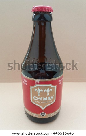BRUSSELS, BELGIUM - CIRCA JUNE 2016: A bootle of Chimay red label brown ale - stock photo