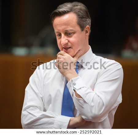 BRUSSELS, BELGIUM - Feb 12, 2015: British Prime Minister David Cameron at the informal EU summit in Brussels (Belgium) - stock photo