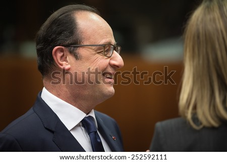 BRUSSELS, BELGIUM - Feb 12, 2015: French President Francois Hollande at the informal EU summit in Brussels (Belgium)