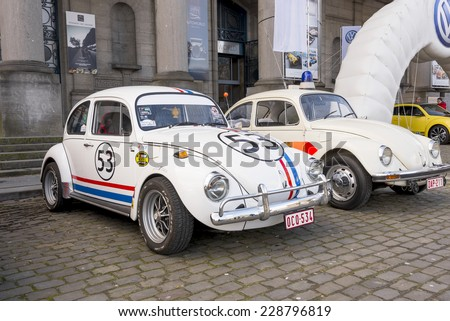 BRUSSELS, BELGIUM - FEBRUARY 16: A Sheik Wants To Buy The President Of Uruguay's VW Beetle For $1 Million. Old Fashion VW Beetle Herbie Style in Brussels on February 16, 2012 in Brussels, Belgium.  - stock photo