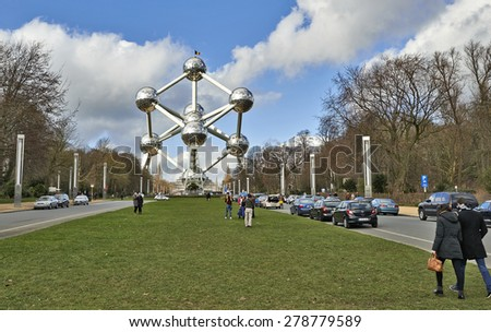 BRUSSELS, BELGIUM-FEBRUARY 16, 2014:The Atomium is a famous place in Brussels, originally built for Expo '58, the 1958 Brussels World's Fair. - stock photo