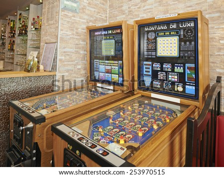 BRUSSELS, BELGIUM - FEBRUARY 11, 2015: Two slot machines in a pub, Commission gambling wants to ban the use of slot machines in Belgium on February 11, 2015 - stock photo