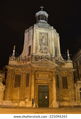 BRUSSELS, BELGIUM, FEBRUARY 16, 2014: View over illuminated eglise notre dame du finistere in belgian capital brussels.