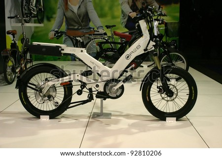 BRUSSELS, BELGIUM - JANUARY 15: A2B Metro electric bicycle shown at Euro Motors 2012 exhibition on January 15, 2012 in Brussels, Belgium - stock photo