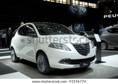 BRUSSELS, BELGIUM - JANUARY 12: Annual autosalon brussel 2012 auto motor show in Heysel expo hall. Lancia Ypsilon on display.  January 12, 2012 in Brussels,  Belgium - stock photo