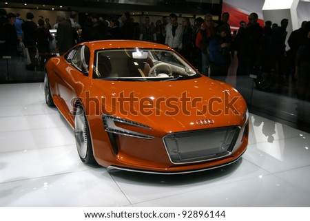 BRUSSELS, BELGIUM - JANUARY 15: Audi R8 e-tron  shown at Euro Motors 2012 exhibition on January 15, 2012 in Brussels, Belgium - stock photo