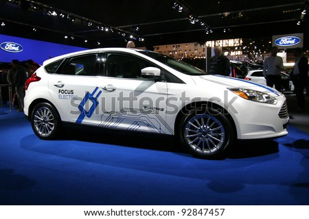 BRUSSELS, BELGIUM - JANUARY 15: Electric Ford Focus shown at Euro Motors 2012 exhibition on January 15, 2012 in Brussels, Belgium - stock photo