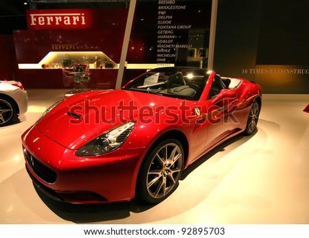 BRUSSELS, BELGIUM - JANUARY 15: Ferrari California shown at Euro Motors 2012 exhibition on January 15, 2012 in Brussels, Belgium - stock photo
