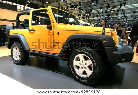 BRUSSELS, BELGIUM - JANUARY 15: Jeep Wrangler shown at Euro Motors 2012 exhibition on January 15, 2012 in Brussels, Belgium - stock photo