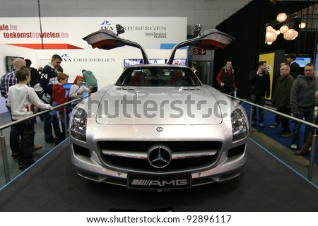 BRUSSELS, BELGIUM - JANUARY 15: Mercedes SLS AMG shown at Euro Motors 2012 exhibition on January 15, 2012 in Brussels, Belgium - stock photo
