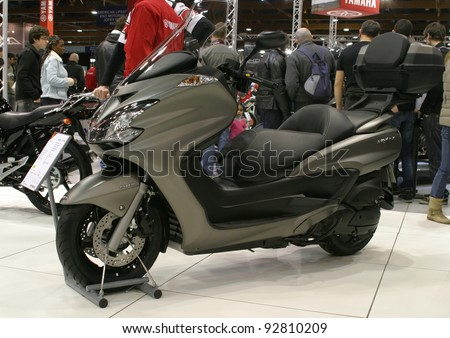 BRUSSELS, BELGIUM - JANUARY 15: Yamaha Majesty 400 ABS scooter shown at Euro Motors 2012 exhibition on January 15, 2012 in Brussels, Belgium - stock photo