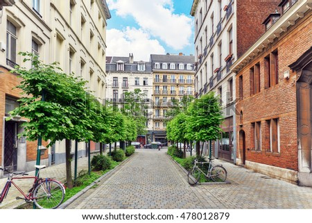 BRUSSELS, BELGIUM - JULY 07, 2016 : City views cozy European cities - Brussels, Belgium and the European Union's capital.