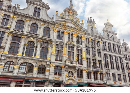 BRUSSELS, BELGIUM - JULY 07, 2016 : Grand Place (Grote Markt) - central square of Brussels. It is surrounded by  guildhalls and two larger edifices, city's Town Hall, Breadhouse. Brussel.