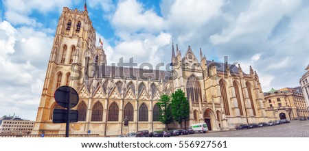 BRUSSELS, BELGIUM - JULY 07, 2016 : Notre Dame du Sablon's Cathedral in Brussels, Belgium and the European Union's capital. Belgium.