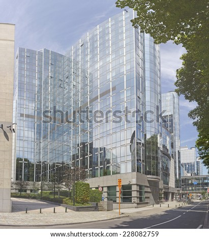 BRUSSELS, BELGIUM - JULY 24, 2014: One of the European Parliament modern buildings