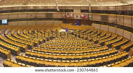 BRUSSELS, BELGIUM - JULY 24, 2014: The European Parliament hemicycle (debating chamber) - stock photo