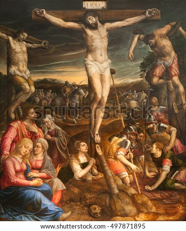 BRUSSELS, BELGIUM - JUNE 22, 2012: Crucifixion of Jesus. Paint from Saint Michael and Saint Gudula cathedral by Michael van Coxie from 16. cent.
