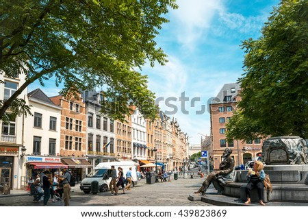 BRUSSELS, BELGIUM - June 16, 2016. Street view of Buildings around city night, one of the most popular tourist destinations in brussel, Belgium. - stock photo