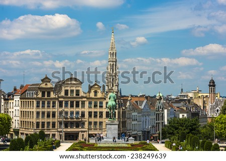 BRUSSELS, BELGIUM - JUNE 13, 2014: The Kunstberg (Mont des Arts), meaning Mount of the Arts, is a historic site in the center of Brussels, Belgium. - stock photo