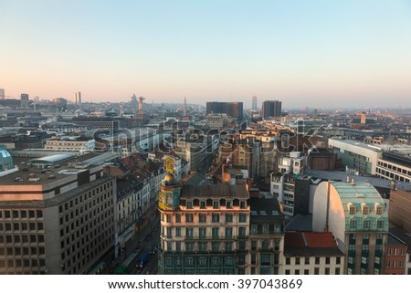 BRUSSELS, BELGIUM - Mar 17, 2016: Cityscape of Brussels. View of buildings and streets of Brussels - stock photo