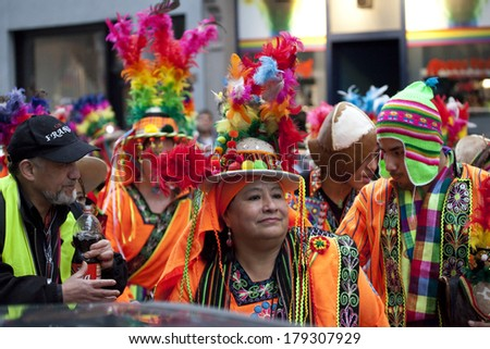 BRUSSELS, BELGIUM - MARCH 01 2014: Bolivian carnival procession on the streets in the center of Brussels