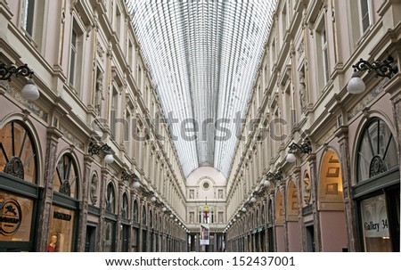 BRUSSELS, BELGIUM - MARCH 24: Interior of  shopping centre on March 24, 2013 in Brussels. - stock photo