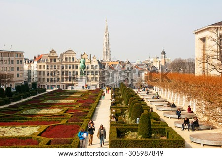 BRUSSELS, BELGIUM - MARCH 16: Monts des Arts and skyline of Brussels, capital of Belgium on March 16, 2015
